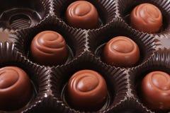 Chocolate box. Closeup of a chocolate box Royalty Free Stock Photography