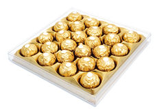 Chocolate box. With gold foil, isolated Stock Photo