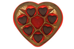 Chocolate box. Heart shaped chocolate box on white Royalty Free Stock Image