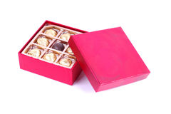 Chocolate Box. Chocolate in red gift box Royalty Free Stock Photography