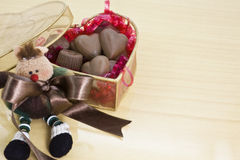 Chocolate box. And teddy bear Royalty Free Stock Photography