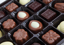 Chocolate box. Assorted Chocolate box close up Royalty Free Stock Photography