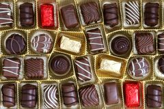 Chocolate box. Assortment of chocolate pralines in box Stock Photography