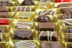 Chocolate box. Assortment of chocolate pralines in box Royalty Free Stock Images