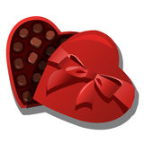 Chocolate box of chocolates in heart shape Royalty Free Stock Photos