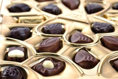 Chocolate in box close up Stock Image