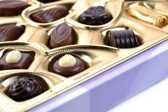 Chocolate in box close up Stock Photography