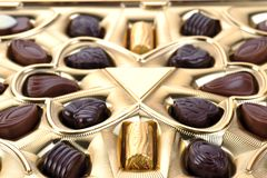 Chocolate in box close up Stock Photos