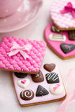Chocolate box cookies. In pink Royalty Free Stock Image