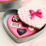 Chocolate box cookies. Chocolate box cookie gift for Valentines Royalty Free Stock Photos