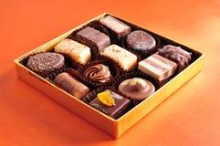 Chocolate in box. Dark brown white Chocolate in box Stock Photography
