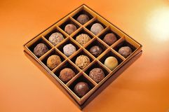 Chocolate in box. Gift assorted chocolate in box stock photography