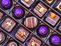 Chocolate box. Handmade finest luxury chocolate in a box Royalty Free Stock Images
