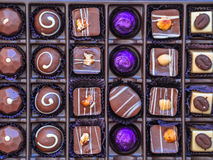 Chocolate box. Handmade finest luxury chocolate in a box Royalty Free Stock Photo