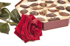 Chocolate box and red rose Royalty Free Stock Photography