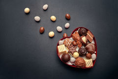 Chocolate box for Valentines Day. On dark background Royalty Free Stock Photography