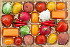Chocolate box with vegetable and fruit contents Stock Photo