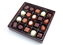 Chocolate box. On white Royalty Free Stock Photo