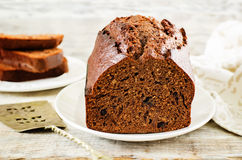 Chocolate bread with chocolate chips Stock Images