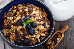 Chocolate breakfast granola in a bowl Stock Photos