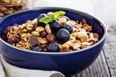 Chocolate breakfast granola in a bowl Royalty Free Stock Photos