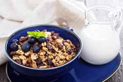 Chocolate breakfast granola in a bowl. Chocolate breakfast granola with milk and blueberries Stock Photography