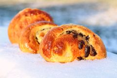 Chocolate brioches Stock Images