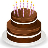 Chocolate brithday cake and candles Royalty Free Stock Image