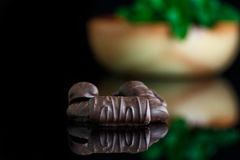 Chocolate. Brown chocolate along some fresh mint royalty free stock photos