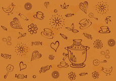 Chocolate-brown background with cups, figurines, sweets, hearts. Stock Photography