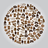 Chocolate brown icons set in circle Stock Images