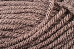 Chocolate Brown Yarn Texture Close Up Stock Image