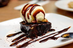 Chocolate brownie. With vanilla ice-cream and chocolate sauce