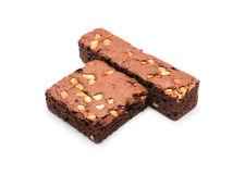 Chocolate brownie with almond on white background. Stock Photos