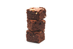 Chocolate brownie with almond on white background. stock photo