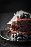 Chocolate brownie with blueberry on the black table vertical Stock Photos