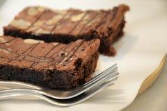 Chocolate Brownie Cake Foto de archivo libre de regalías