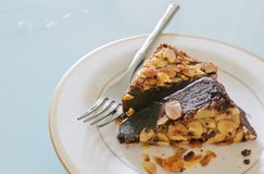 Chocolate brownie cake with almond Stock Images