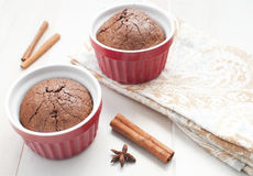 Chocolate brownie cake with cinnamon Royalty Free Stock Images