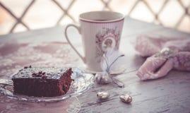 Chocolate brownie cake and coffee Stock Photography