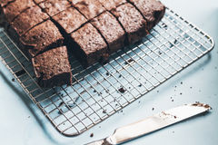 Chocolate brownie cake cut into slices Stock Images