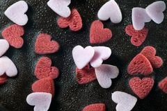 Chocolate brownie cake. With heart decoration stock photo