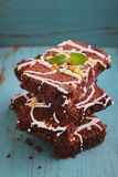 Chocolate brownie cake with nuts Royalty Free Stock Images