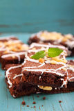 Chocolate brownie cake with nuts Royalty Free Stock Photography