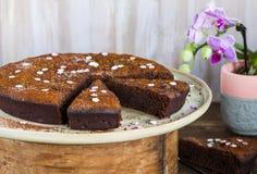 Chocolate brownie cake with prunes Royalty Free Stock Image