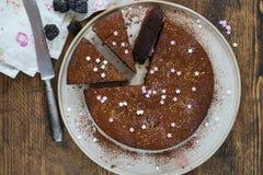 Chocolate brownie cake with prunes Stock Photo
