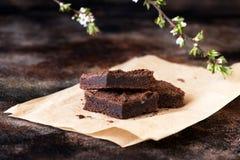 Chocolate brownie cake Stock Photos