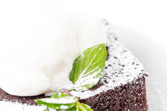 Chocolate brownie cake with vanilla ice cream. Stock Photography