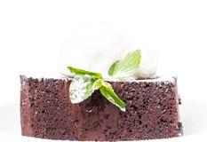 Chocolate brownie cake with vanilla ice cream. Royalty Free Stock Image
