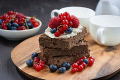 Chocolate Brownie Cake With Nuts And Fresh Berries Royalty Free Stock Photo